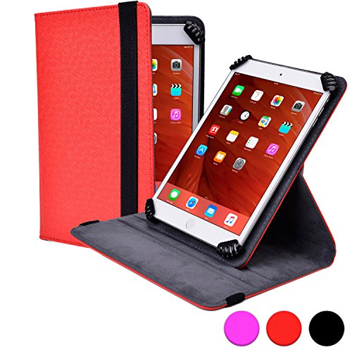Darling Pedestal - Universal 9-10.1'' Tablet folio case, COOPER INFINITE S360 Business School Travel Carrying Portfolio Case Protective Cover Folio with Built-in 360 Rotating Stand for 9-10.1'' Tablets (Red)