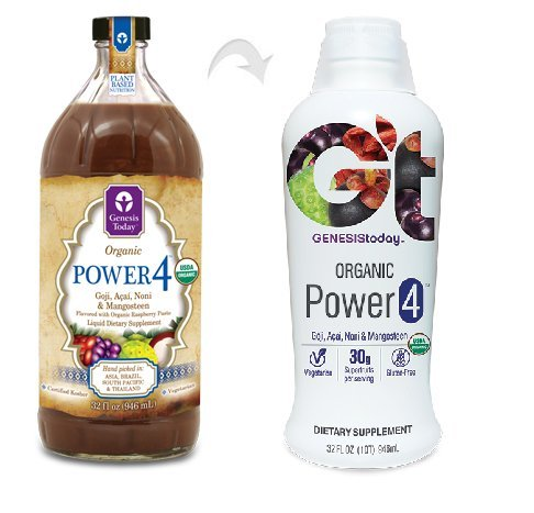 Power4 100% Goji, Acai, Noni & Mangosteen Berry Juice Supplement ~ All 4 Power JUICES in 1 ~ by Genesis Today - 32oz Bottle (Noni Goji Berry Juice compare prices)