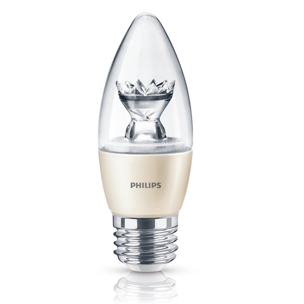 Philips 435057 40 Watt Equivalent Dimmable Soft White B13 Decorative Candle LED Light Bulb with Candelabra Base