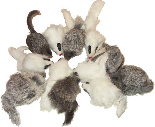 CoolCyberCats Rattling Long Haired Real Fur Mice, Pack of 12