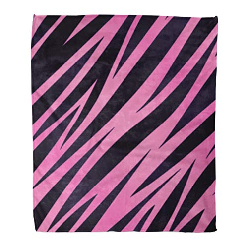 (Emvency Decorative Throw Blanket 60 x 80 Inches Black Girly Pink and Purple Zebra Striped Seamlessly Repeatable 8 White Animal Warm Flannel Soft Blanket for Couch Sofa Bed)