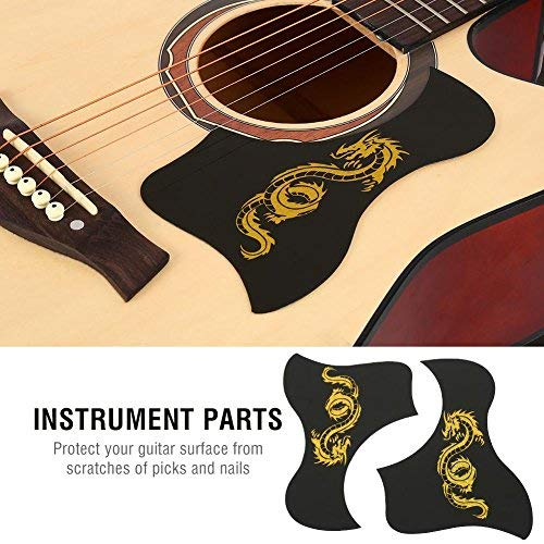 (Guitar Pickguards, 2Pcs 40/41 Inch Guitar Pick Guards Bird Shape Sticker for Acoustic Guitar(Gold Dragon) )