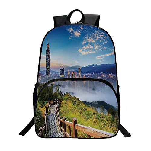 """Scenery Decor Fashionable Backpack,Beautiful Scenery of a City Cosmopolitan Life and Nature with Bridge Print for Boys,11.8""""L x 6.2""""W x 15.7""""H"""