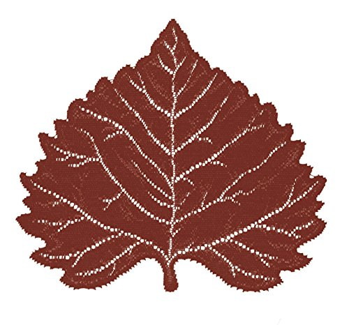 Aspen Placemat - Heritage Lace Aspen Leaf 14-Inch by 16-Inch Placemat, Dark Paprika, Set of 2
