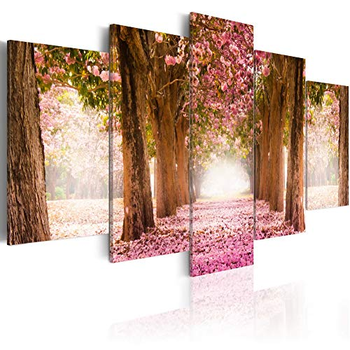 Pink Flower Alley Canvas Art Modern Print Floral Tree Road Painting Landscape Picture 5 Panel Decor Home Decoration for Bedroom Easy Hanging (F12, Large W60