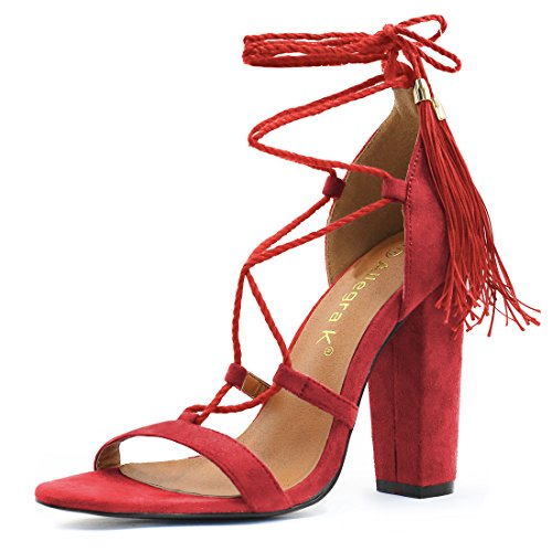 High Lace Heel 4 Inches 2 Red Sandals Womens 1 K Up Tassel Allegra EpqXtR