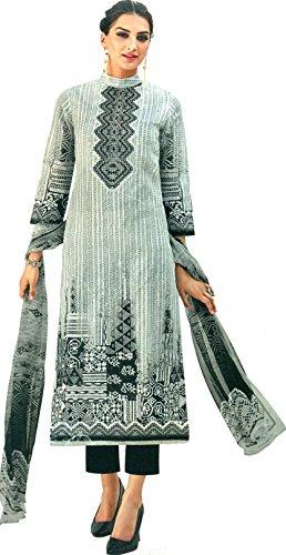 Exotic India Gray and Black Trouser Salwar Kameez Suit with Digital Print - Grey Size X-Large (Kameez Trouser)