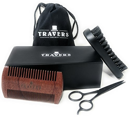 Travers Brands Beard Grooming Kit for Men, Beard & Mustache Growth Grooming & Trimming Gift Set, Black Boar Bristle Beard Brush, Red Sandalwood Beard Comb, Black Trimming Scissors for Styling