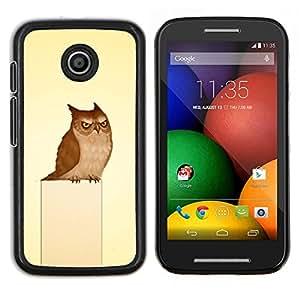 Caucho caso de Shell duro de la cubierta de accesorios de protección BY RAYDREAMMM - Motorola Moto E - Búho gruñón del arte del pájaro Dibujo Fairytale