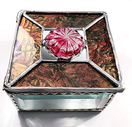 Tapestry like Glass in the Colors of Red and Champagne with a OOAK large Fuchsia and Clear Glass Rondel ()