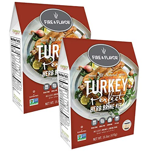 (Fire & Flavor Turkey Brining Kit (Turkey Perfect) - Pack of 2 Kits - Contains Our World Famous Brine and Brining Bag for a Memorable Turkey Feast!)