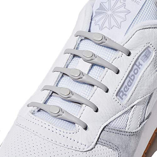 HICKIES 2.0 No-Tie One-Size Fits All Elastic Shoelaces - Grey (14 HICKIES Shoelaces, Works in all shoes)