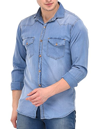 Lafantar Men #39;s Cotton Denim Shirt