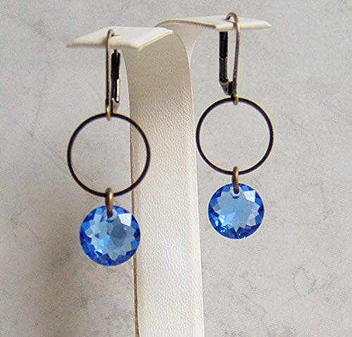 Blue Round Made with Swarovski Crystal Faux Sapphire September Birthstone Circle Hoop Hypoallergenic Bronze Leverback Simple Drop Dangle Earrings Gift Idea