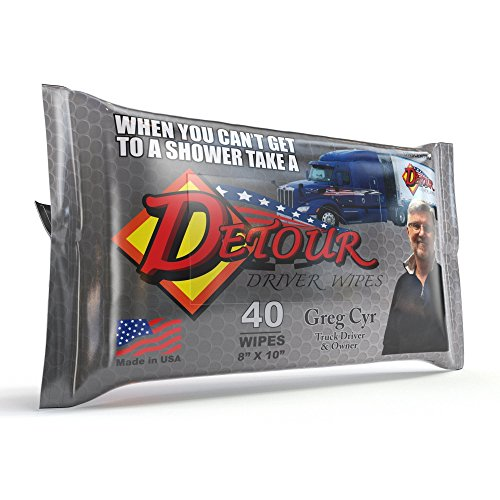 Detour Body Wipes, Men's Shower Wet Wipes Are Unscented Naturally Refreshing Aloe Adult Bath Wipes for Truck Drivers (40 pack)