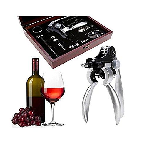 Corkscrew Tool Kit (9 Pieces Set Rabbit Red Wine Bottle Opener Corkscrew Set Kit Tools Stopper Foil Cutter in Mahogany Box)