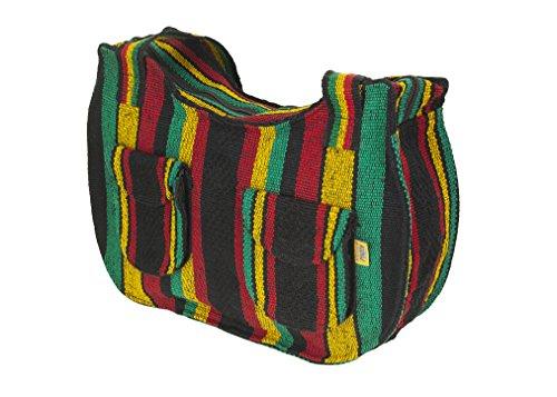 - PINZON Ladies Canvas Shoulder Bags Mexican Handbag for Women Rastafarian Hippie Hobo Bohemian Girls Aztec (Rasta)