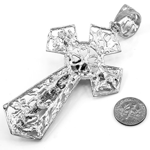 Joyara - Collier Pendentif 10 ct Or Blanc GoldCrucifix Extra Large