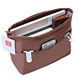 IN Multi-Pocket Travel Handbag Organizer Insert Large for Tote bag Purse Liner Insert Organizer With Handles (Large, Brown)