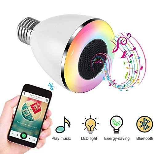 Light Bulb Speaker, LESHP 6W E27 Base RGB Color Changing LED Music Bulb, Multicolored Wireless Stereo Speaker Bulb with APP Control by LESHP light (Image #1)