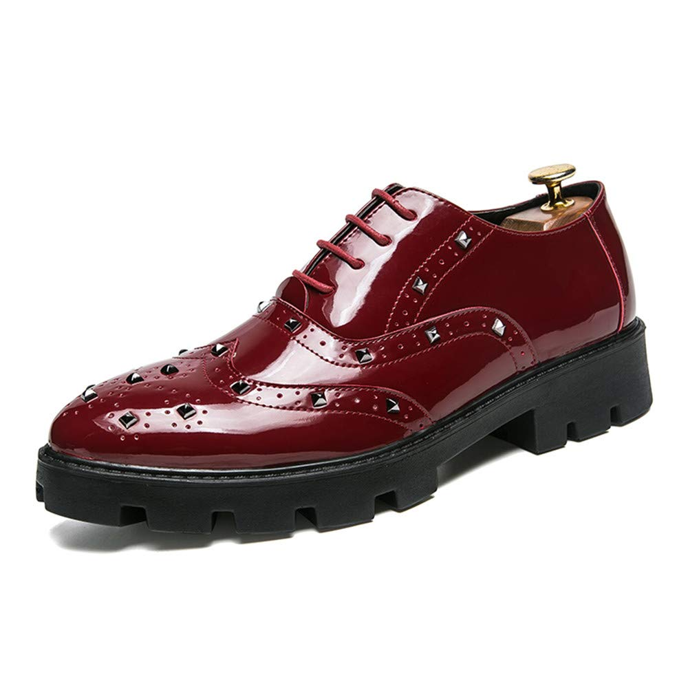 HYF Oxford Shoes Men's Business Oxford Casual Personality Rivet Thick Bottom with Patent Leather Brogue Shoes Business Shoes for Men (Color : Red, Size : 6.5 M US)