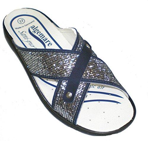 Damen Blau 8788 Clogs 3458 Pantoletten Algemare fEqznx