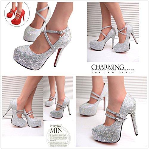 Gaorui Women Glitter Rhinestones Studded Pumps Platform Wedge high heel Shoes Silver Red Red smXGlOd8