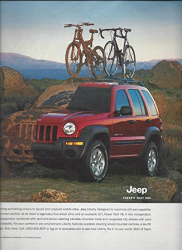 PRINT AD For 2001 Red Jeep Liberty Bicycles Off Road Scene