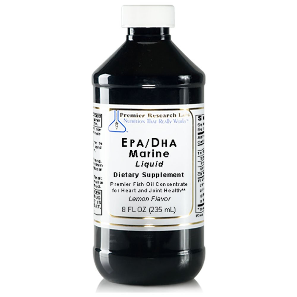 EPA/DHA Marine Liquid, 8 fl oz - Premier Fish Oil Concentrate without molecular distillation. Promotes Heart and Joint Health with a Refreshing Lemon Flavor by Premier Research Labs (Image #1)