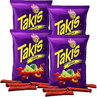 Takis Fuego Hot Chili Pepper & Lime Tortilla Chips, 4oz Bag (4-Pack)