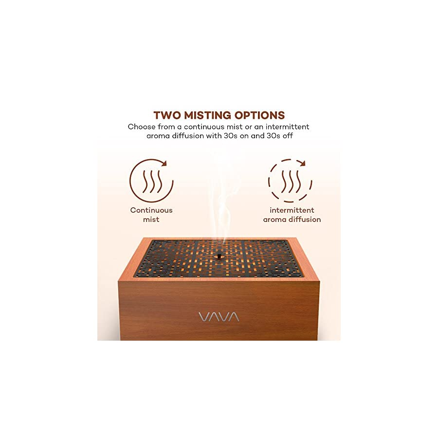 VAVA Essential Oil Diffuser with Real Solid Oak Wood, 8 16 Hours Working Time, Square Japanese Zen Design Ultrasonic Diffusers with 5 Colors LED and Waterless Auto Shut Off for Home