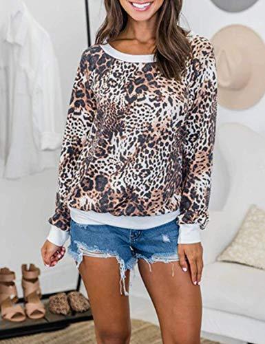 Ratilove Womens Casual Cute Fall Long Sleeve Shirt Top Crewneck Leopard Sweatshirts for Women