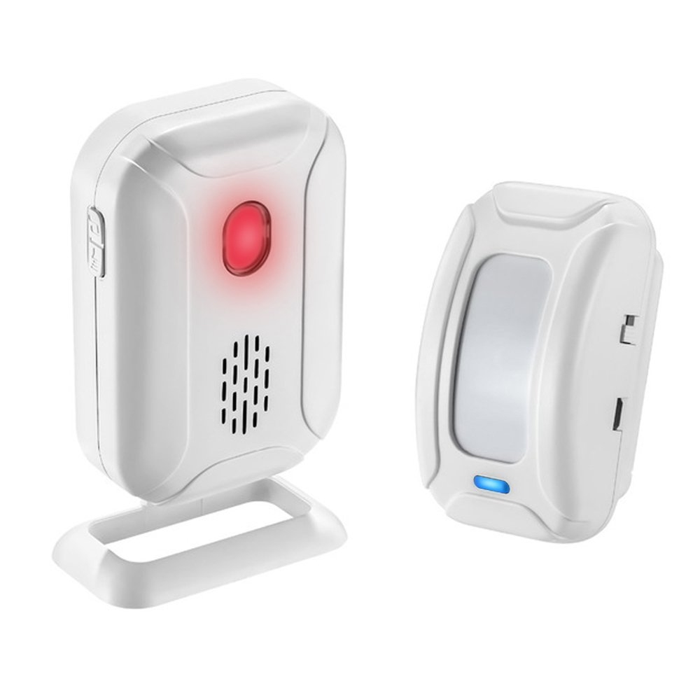 Wsdcam Motion Alarm Wireless Long Range (Operating Range - 900FT | 36 Chime Tunes | 4 Volume Levels | LED Flashing Light) Motion Sensor Door Alarm Chime