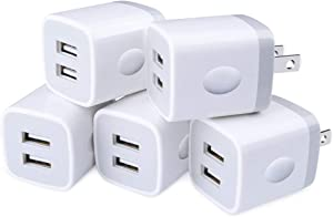 USB Wall Charger,5-Pack Sicodo 2.1A Dual Port Plug USB Cube Power Adapte Charging Block Compatible with iPhone 8/7/6 Plus/X,Tablet,Samsung Galaxy S10+, S8,S7 Edge,HTC,LG,Sony,Nokia,Motorola and More