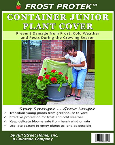Frost Protek Medium Plant Cover for Containers -Drawstring Close -Garden Fabric for Protection and Insulation -32″ High