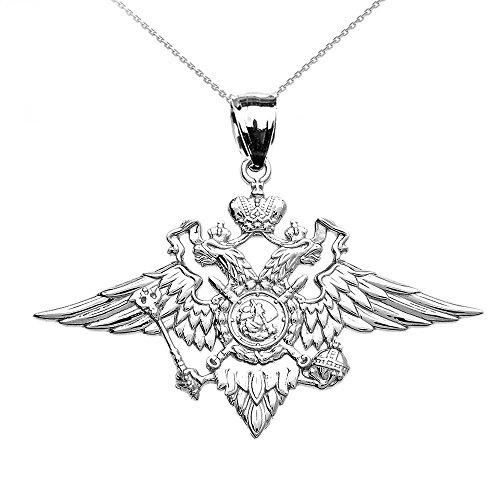 Collier Femme Pendentif 10 Ct Or Blanc Double-Tête Aigle Impérial Russe Manteau Des Armes (Livré avec une 45cm Chaîne)