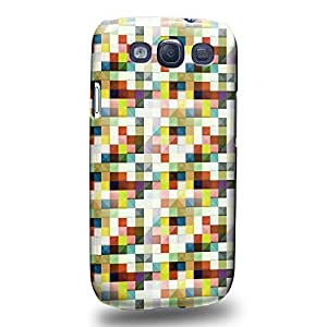 Case88 Premium Designs Art Color Mix Cube Puzzle Geometric Pattern Protective Snap-on Hard Back Case Cover for Samsung Galaxy S3