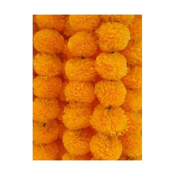 Decoration Craft Pack of 5 Artificial Light Orange Marigold Flower Garlands 5 Feet Long, for Parties, Indian Weddings, Indian Theme Decorations, Home Decoration, Photo Prop, Diwali, Indian Festival