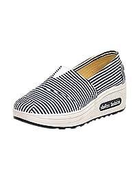 KINDOYO Alpargatas de Cuña Mujer - Moda Raya Casual Zapatos Transpirables Sneakers Zapatilla