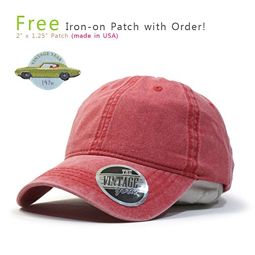 (Vintage Washed Dyed Cotton Twill Low Profile Adjustable Baseball Cap (Red 70P))