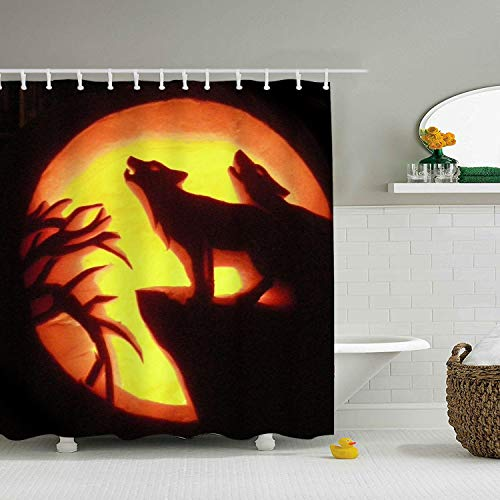 Mweet Pumpkin Wolf Carving Polyester Fabric Shower Curtain, Lodge Shower Curtains for Bathroom, Print Decorative Waterproof Bath Curtains,65 × 71 inch