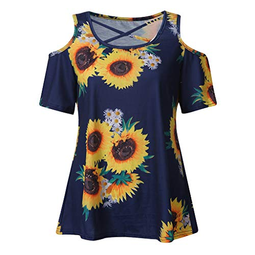 (Nadition Women Summer T-Shirt  Women's Fashion Sunflower Print Cold Shoulder T-Shirt Cross O-Neck Short Sleeve Blouse Blue)
