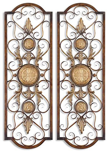Uttermost Distressed Chestnut Brown With Antiqued Gold Micayla Set Of 2 Metal Wall Art Model-13475