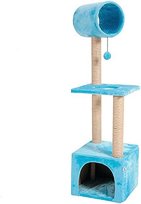 Rascador gato Trio - Palo rascador, gatera y juego - Azul: Amazon ...