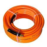 Maxaline Air Hose,Non-Kinking, 3/8in. x 25ft, 300 PSI, 1/4Inch MNPT Brass Ends, Lightweight,PVC Compressor Hose Orange