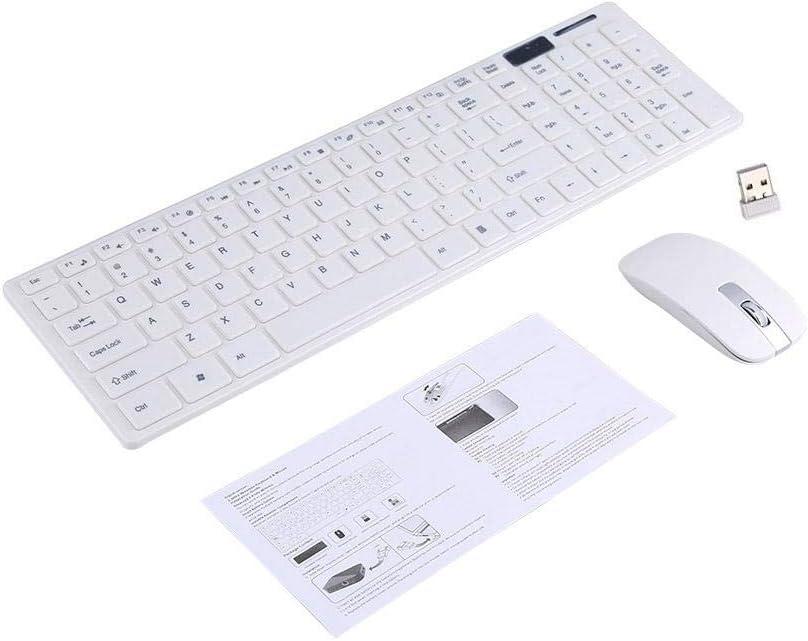 Samfox Teclado, 2.4G Teclado inalámbrico óptico y Mouse Ratones Kit Combinado de Receptor USB Compatible con computadora PC M-A-C(Blanco)