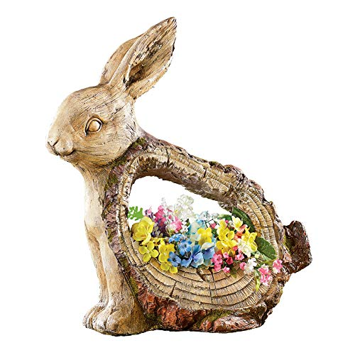 (Rabbit Garden Animal Statue with Planter with Carved Tree Look - Outdoor Decorative)