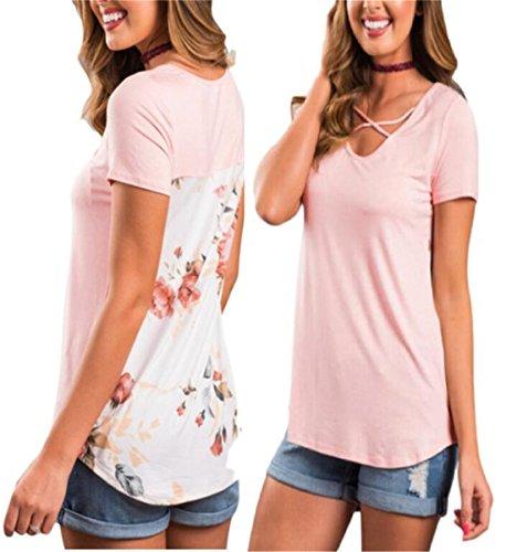 Back Womens Light T-shirt (YLOVE Women's Casual Floral Print Back Short Sleeve Criss Cross V Neck Blouse Tops Asia XL Light Pink)