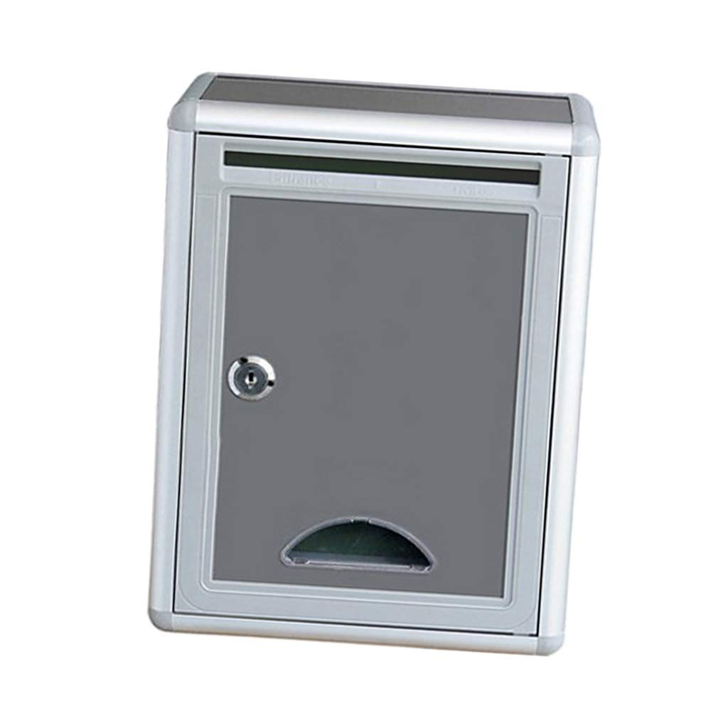 D DOLITY Outdoor Gray Wall Mounted Mailbox Post Box with Lock Office Letter Box