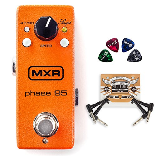 MXR M290 Phase 95 Pedal for Electric Guitars BUNDLED WITH 2 Pack of Blucoil Pedal Patch Cables AND 4 Pack of Celluloid Guitar Picks by blucoil